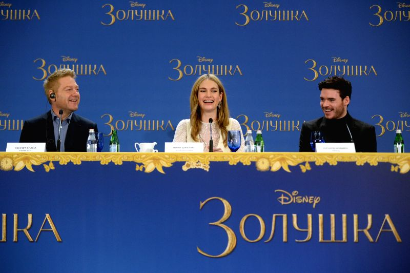 Director Kenneth Branagh, actress Lily James and actor Richard Madden (from L to R) attend a press conference during the premiere of Disney's new movie ... - Lily James