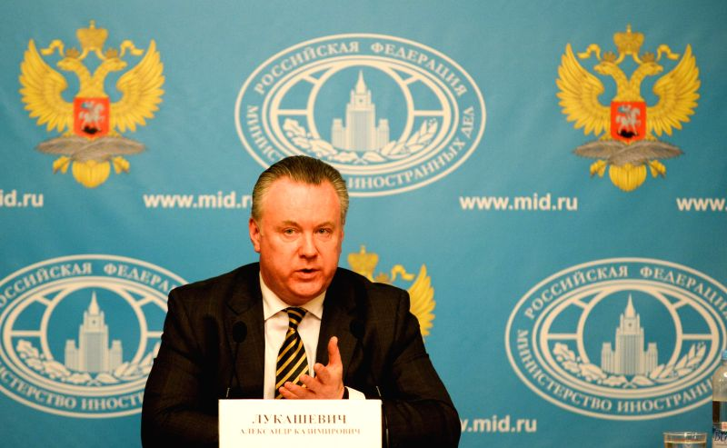 Russian Foreign Ministry spokesman Alexander Lukashevich speaks at a news conference in Moscow, Russia, Feb. 5, 2015. Possible supplies of U.S. weapons to Ukraine ...