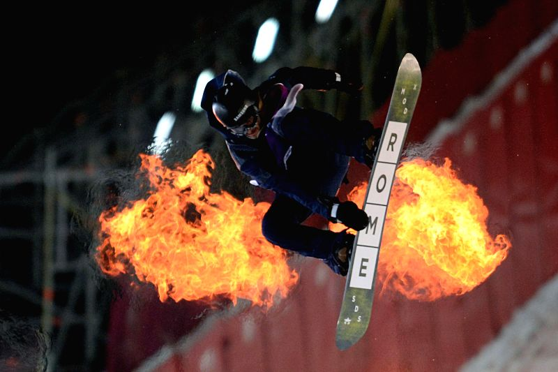 Pat Bergener of Switzerland competes during the Russian Grand Prix of World Snowboard Tour in Moscow, Russia, on Jan. 10, 2015.