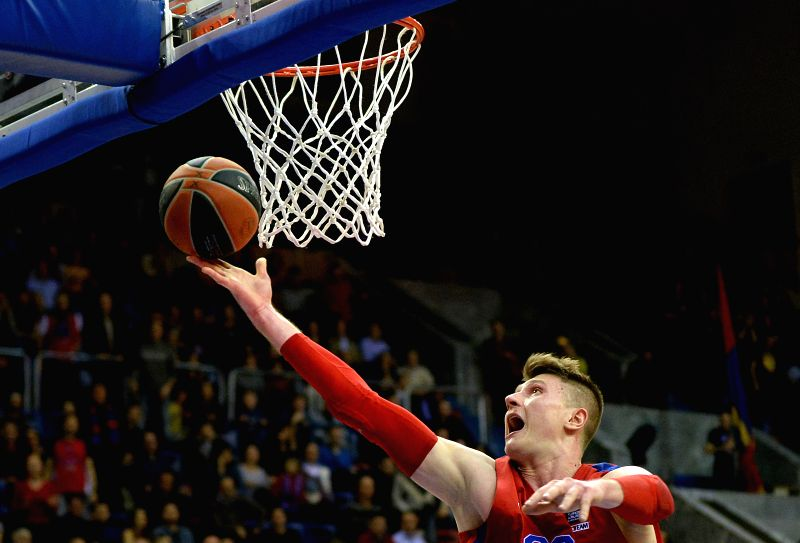 Andrey Vorontsevich of Russia's CSKA Moscow goes to the basket during the Basketball Euroleague match between Russia's CSKA Moscow and Nizhny Novgorod in Moscow, ...
