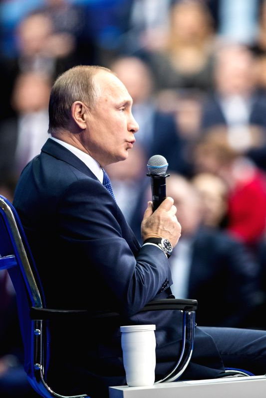 MOSCOW, Jan. 30, 2018 - Russian President Vladimir Putin gives a speech during the meeting with his authorized representatives ahead of the presidential elections in March at the Gostiny Dvor ...