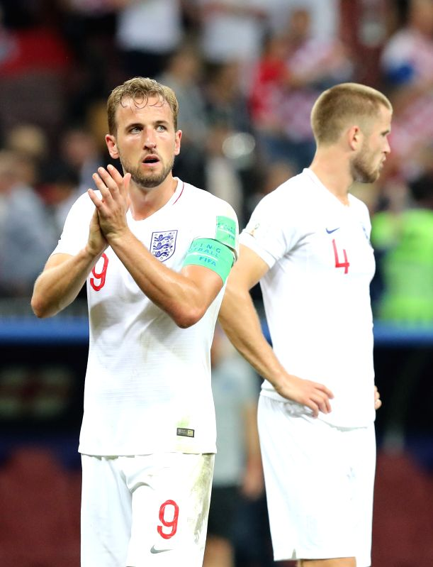 MOSCOW, July 11, 2018 - Harry Kane (L) of England greets the audience after the 2018 FIFA World Cup semi-final match between England and Croatia in Moscow, Russia, July 11, 2018. Croatia won 2-1 and ...
