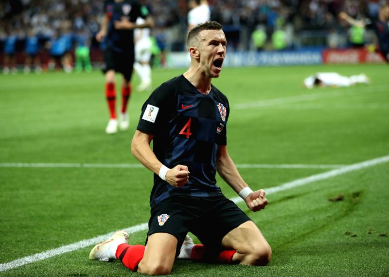 MOSCOW, July 11, 2018 - Ivan Perisic of Croatia celebrates scoring during the 2018 FIFA World Cup semi-final match between England and Croatia in Moscow, Russia, July 11, 2018.(Image Source: Xinhua/Wu Zhuang/IANS)