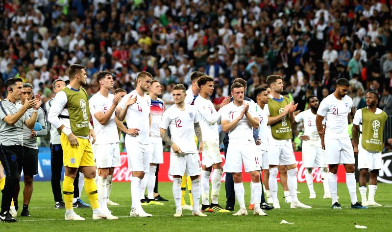 MOSCOW, July 11, 2018 - Players of England greet the audience after the 2018 FIFA World Cup semi-final match between England and Croatia in Moscow, Russia, July 11, 2018. Croatia won 2-1 and advanced ...
