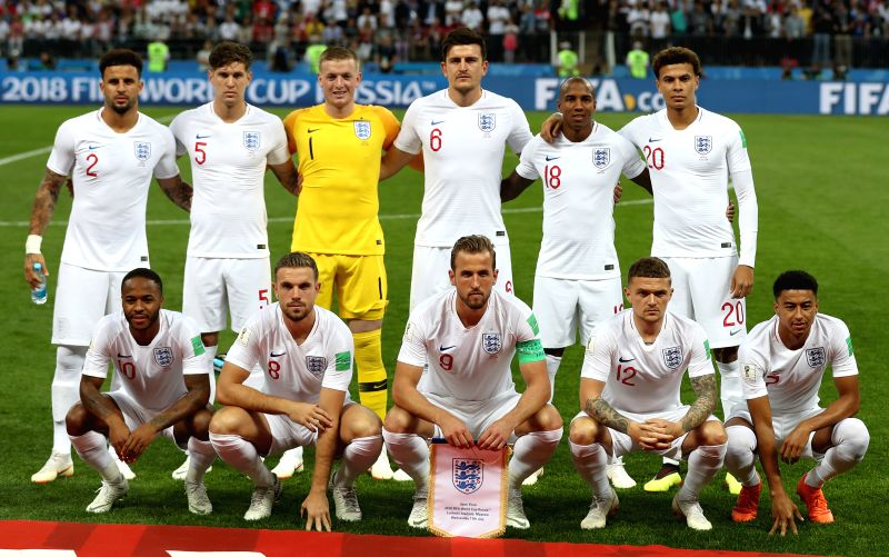 MOSCOW, July 11, 2018 - Players of England pose for a group photo prior to the 2018 FIFA World Cup semi-final match between England and Croatia in Moscow, Russia, July 11, 2018.(Image Source: Xinhua/Xu Zijian/IANS)