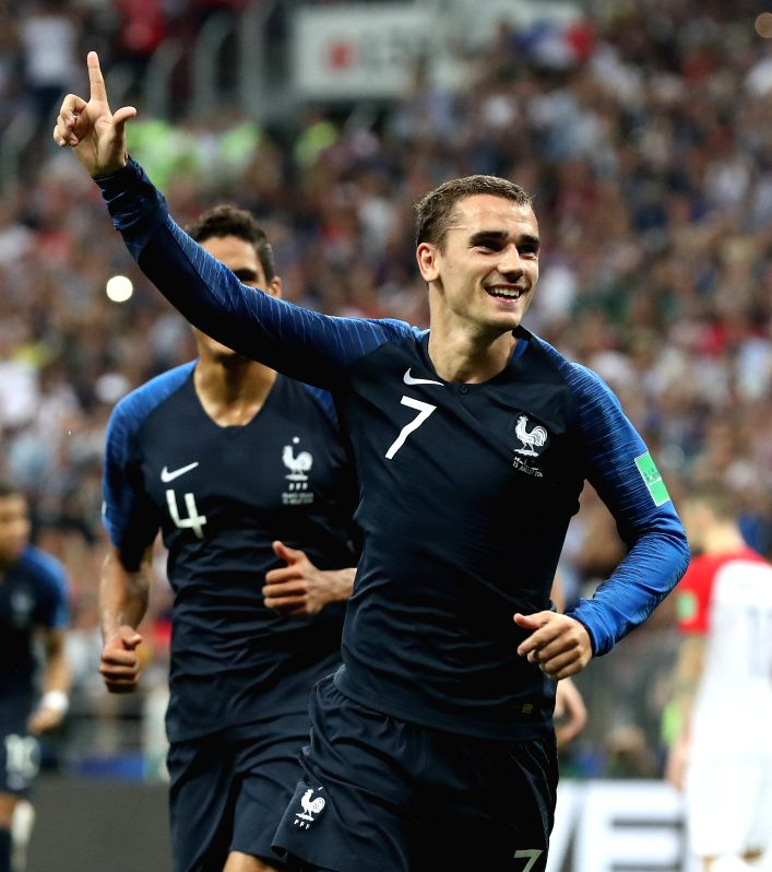 MOSCOW, July 15, 2018 - Antoine Griezmann of France celebrates scoring during the 2018 FIFA World Cup final match between France and Croatia in Moscow, Russia, July 15, 2018.
