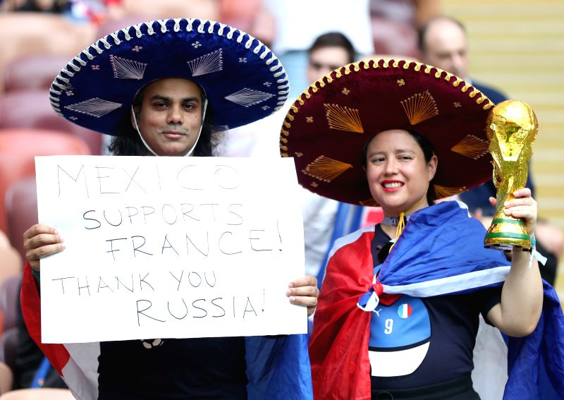 MOSCOW, July 15, 2018 - Fans are seen prior to the 2018 FIFA World Cup final match between France and Croatia in Moscow, Russia, July 15, 2018.
