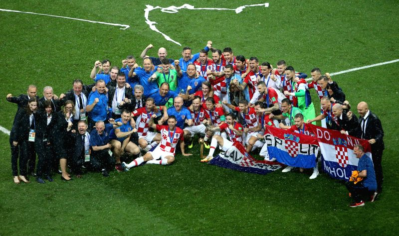 MOSCOW, July 15, 2018 - Members of team Croatia are seen at the awarding ceremony after the 2018 FIFA World Cup final match between France and Croatia in Moscow, Russia, July 15, 2018. France ...