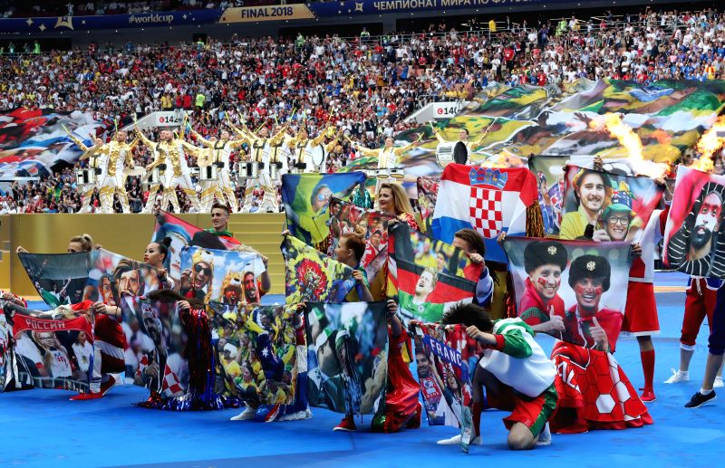 MOSCOW, July 15, 2018 - Photo taken on July 15, 2018 shows the closing ceremony of the 2018 FIFA World Cup in Moscow, Russia.