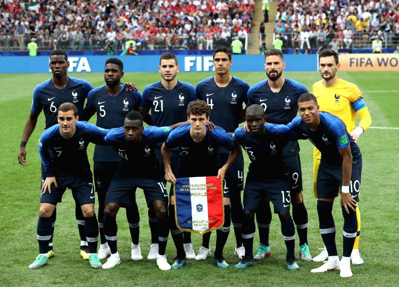 MOSCOW, July 15, 2018 - Players of France pose for a group photo prior to the 2018 FIFA World Cup final match between France and Croatia in Moscow, Russia, July 15, 2018.