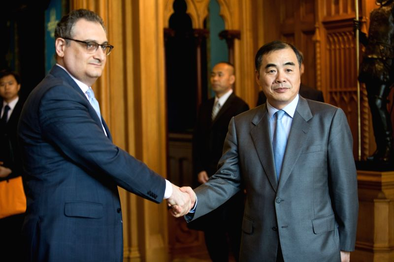 MOSCOW, July 28, 2016 - Chinese Assistant Minister of Foreign Affairs Kong Xuanyou (R) shakes hands with Russian Deputy Foreign Minister Igor Morgulov during the fourth meeting on Northeast Asia ... - Igor Morgulov