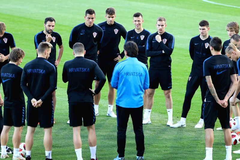 MOSCOW, July 9, 2018 - Croatia's players listen to instruction by their head coach Zlatko Dalic during a training session in Moscow, Russia on July 9, 2018.