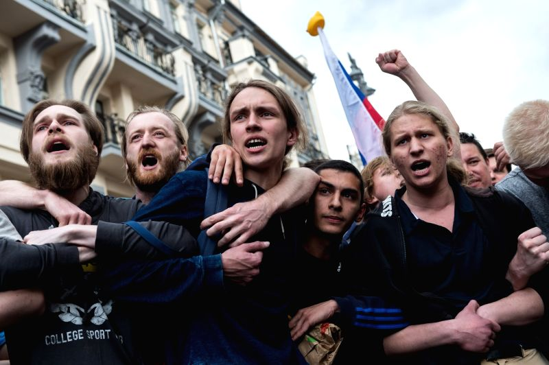 MOSCOW, June 12, 2017 - People participate in an opposition rally in Moscow, Russia, on June 12, 2017. Multiple rallies of opposition took place in cities across Russia on Monday and hundreds of ...
