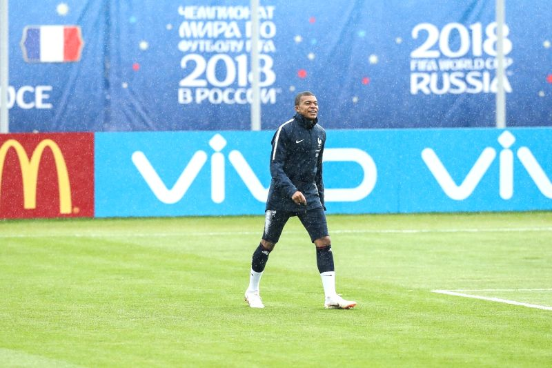 MOSCOW, June 12, 2018 - France's Kylian Mbappe attends a training session ahead of the Russia 2018 World Cup in Moscow, Russia, June 11, 2018.