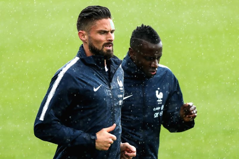 MOSCOW, June 12, 2018 - France's Olivier Giroud (L) attends a training session ahead of the Russia 2018 World Cup in Moscow, Russia, June 11, 2018.