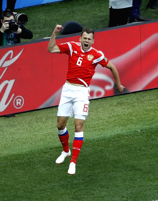 MOSCOW, June 14, 2018 - Russia's Denis Cheryshev celebrates his goal during the opening match of the 2018 FIFA World Cup in Moscow, Russia, on June 14, 2018.
