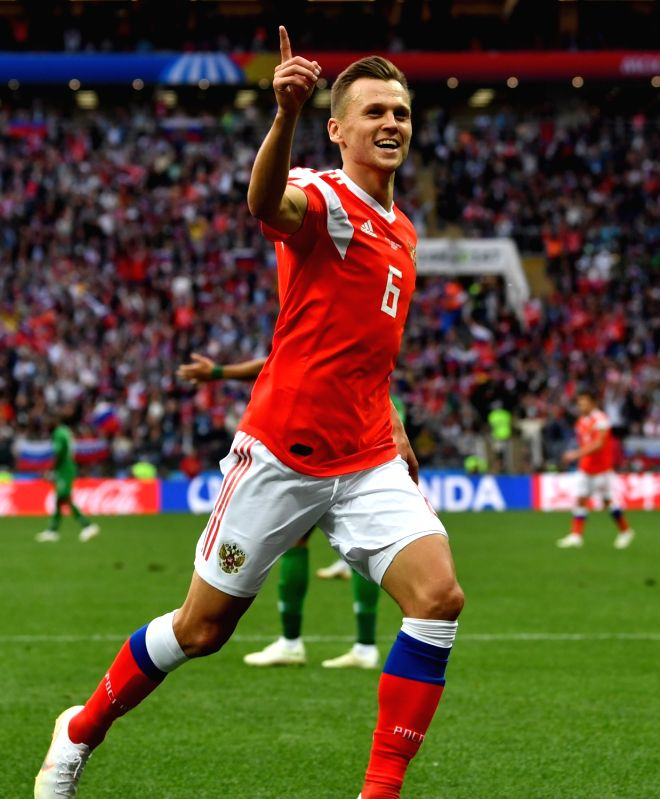 MOSCOW, June 14, 2018 - Russia's Denis Cheryshev celebrates his goal against Saudi Arabia during the opening match of the 2018 FIFA World Cup in Moscow, Russia, on June 14, 2018.