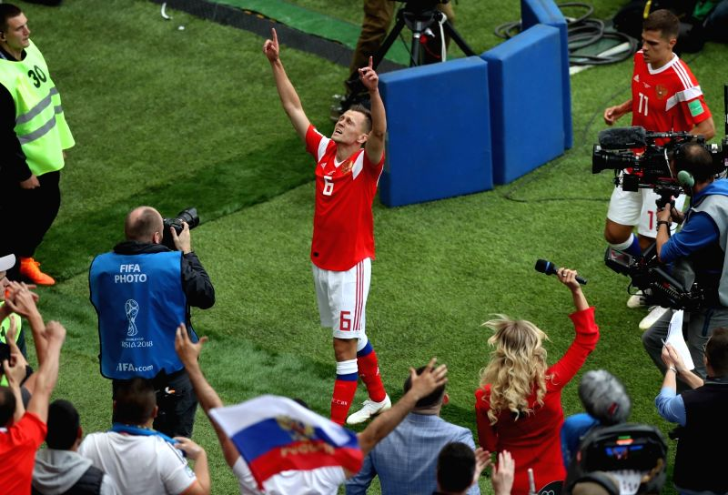MOSCOW, June 14, 2018 - Russia's Denis Cheryshev (C) celebrates his goal against Saudi Arabia during the opening match of the 2018 FIFA World Cup in Moscow, Russia, on June 14, 2018.