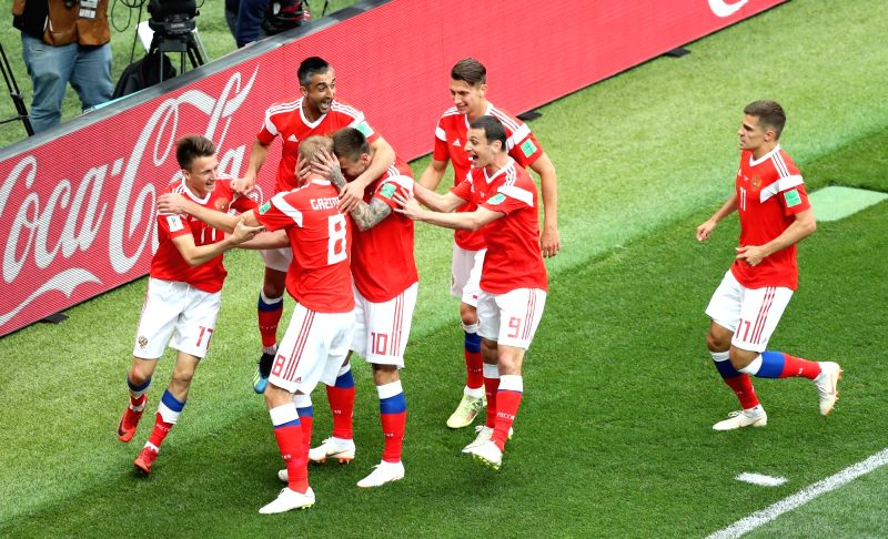 MOSCOW, June 14, 2018 - Russia's players celebrate their first goal against Saudi Arabia during the opening match of the 2018 FIFA World Cup in Moscow, Russia, on June 14, 2018.