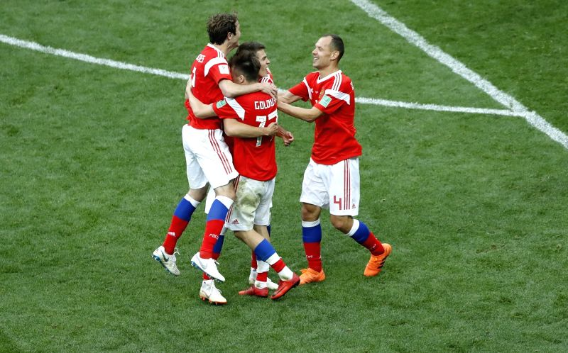 MOSCOW, June 14, 2018 - Russia's players celebrate their goal against Saudi Arabia during the opening match of the 2018 FIFA World Cup in Moscow, Russia, on June 14, 2018. Russia won 5-0.