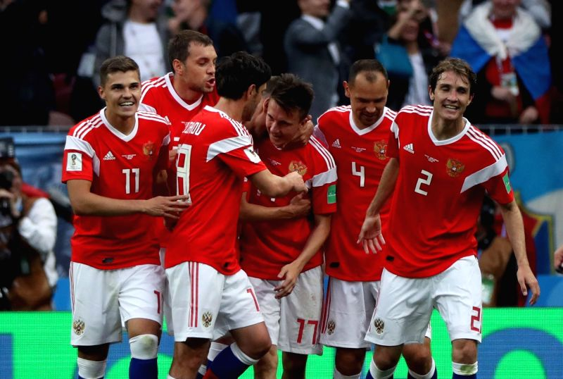 MOSCOW, June 14, 2018 - Russia's players celebrate their goal against Saudi Arabia during the opening match of the 2018 FIFA World Cup in Moscow, Russia, on June 14, 2018.