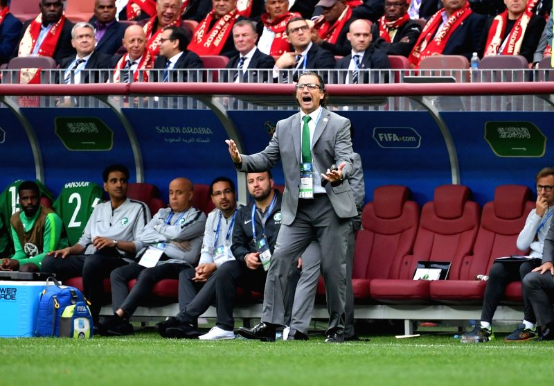MOSCOW, June 14, 2018 - Saudi Arabia's head coach Juan Antonio Pizzi reacts during the opening match against Russia at the 2018 FIFA World Cup in Moscow, Russia, on June 14, 2018.