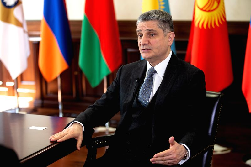 MOSCOW, June 7, 2018 - Tigran Sargsyan, chairman of the board of the Eurasian Economic Commission, receives an interview in Moscow, Russia, June 1, 2018. China and the Eurasian Economic Union (EAEU) ...