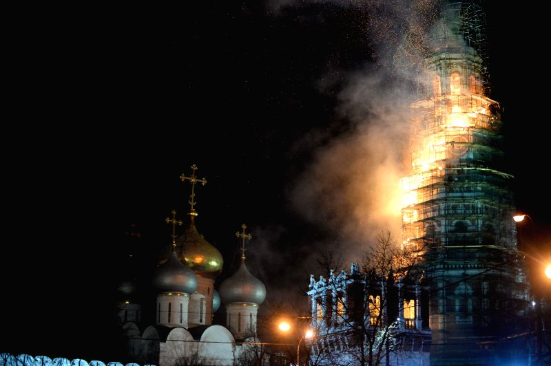 A fire breaks out at the Novodevichy monastery, one of well-known Moscow landmarks, in Moscow, Russia, on  March 15, 2015.