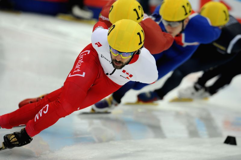 Canada's Charles Hamelin competes during the men's 1500m final at the 2015 ISU World Short Track Speed Skating Championships in Moscow, capital of Russia, March 14, ...