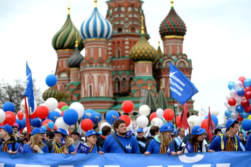 People attend the trade unions march to mark International Labor Day in Moscow, Russia, May 1, 2015.