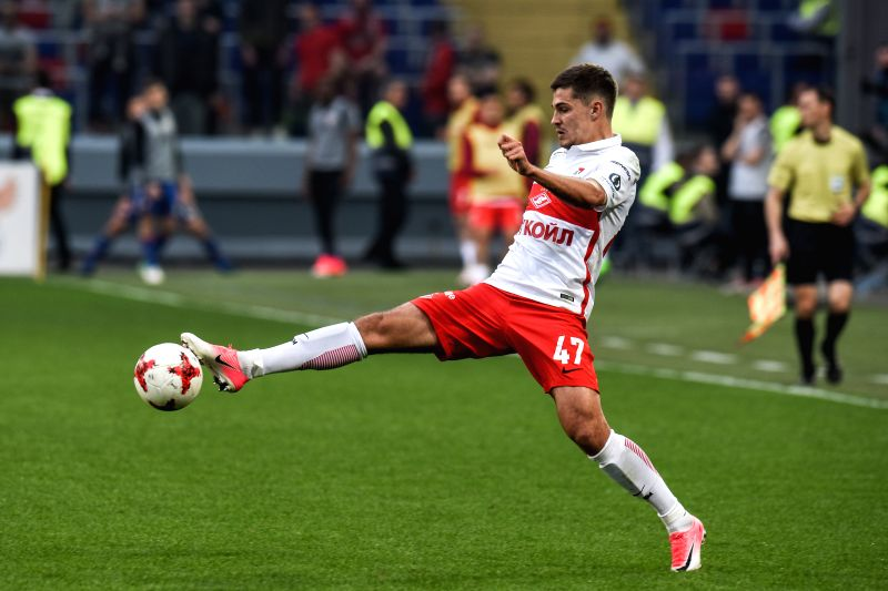 MOSCOW, May 1, 2017 - Roman Zobnin of Spartak Moscow kicks the ball during the Russian championship game against CSKA Moscow in Moscow, Russia on April 30, 2017.