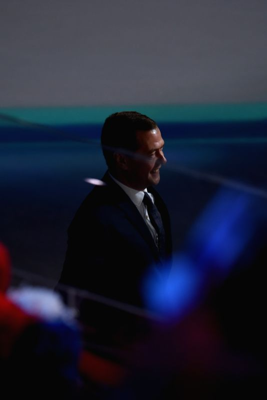 MOSCOW, May 7, 2016 - Russian Prime Minister Dmitry Medvedev is seen at the opening ceremony of 2016 IIHF Ice Hockey World Championship in Moscow, Russia, on May 6, 2016. The 2016 IIHF Ice Hockey ... - Dmitry Medvedev