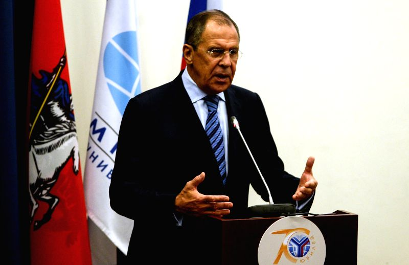 Russian Foreign Minister Sergei Lavrov delivers a speech in Moscow, Russia, Sept. 1, 2014. Lavrov said Monday Moscow will not militarily interfere in the ongoing ... - Sergei Lavrov