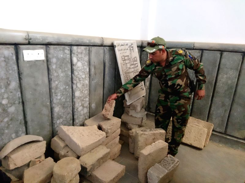 MOSUL, April 17, 2017 - Photo taken on April 17, 2017 shows the clay manuscripts in the University of Mosul in Mosul, Iraq. Iraqi security forces found clay manuscripts and antique potteries in the ...