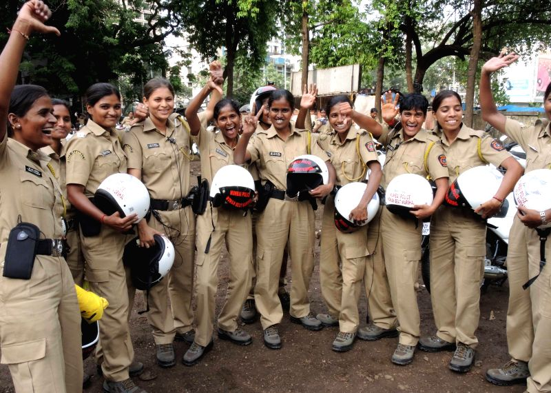 Motorbike-borne, women beat marshals, who will be patrolling the streets looking out for molesters and other miscreants targeting women in crowded places in Mumbai on Aug 20, 2014.