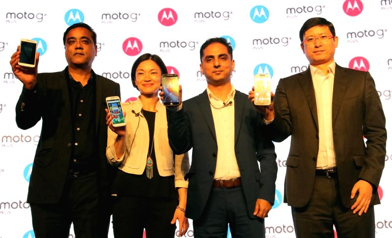 Motorola Mobility India Country Head Amit Boni and Moto G's product manager Allison Yi during the launch of Moto's G4 and G4 plus smartphones in New Delhi, on May 17, 2016.