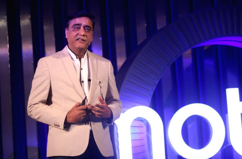 Motorola Mobility India MD Sudhin Mathur during the launch of Moto X4 smartphone in New Delhi on Nov 13, 2017.