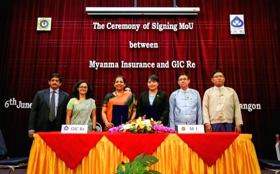 MoU signing ceremony between Myanma Insurance and General Insurance Corp (GIC Re) underway, in Myanmar on June 6, 2018. According to authorities, the General Insurance Corp of India (GIC) ...