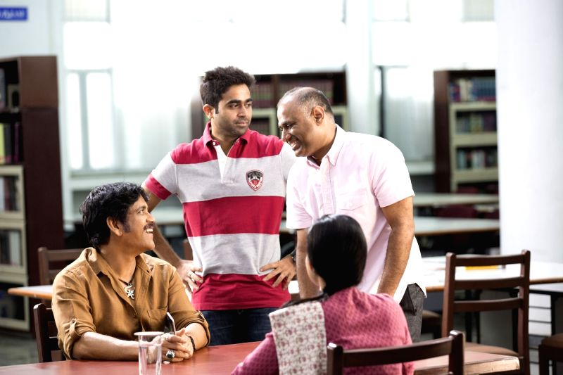 "Movie working stills of his upcoming film ""Raju Gari Gadhi 2"" in Hyderabad."