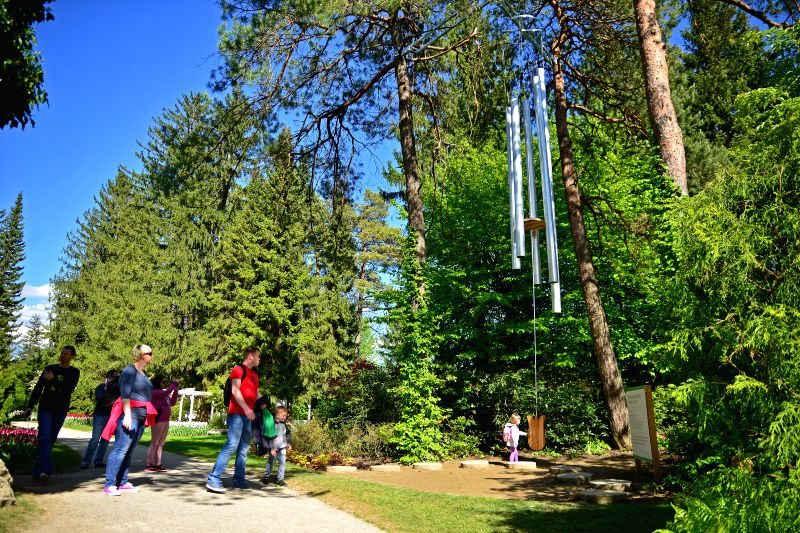 MOZIRJE (SLOVENIA), May 2, 2017 A girl touches the largest tuned-in wind bells in Europe exhibited at Mozirski Gaj botanical park in Mozirje, Slovenia, on May 2, 2017. The wind bells, ...