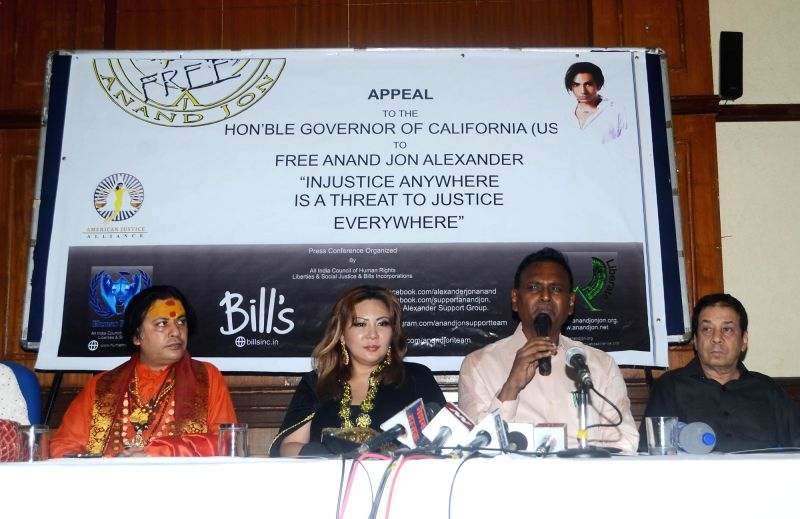 MP Udit Raj during a press conference organised to demand justice for Anand Jon Alexander who is languishing in a US court since 2007; in New Delhi on July 5, 2018.