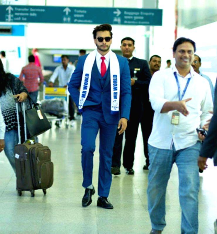 Mr World 2016 winner Rohit Khandelwal at Rajiv Gandhi International Airport in Shamshabad on July 28, 2016.