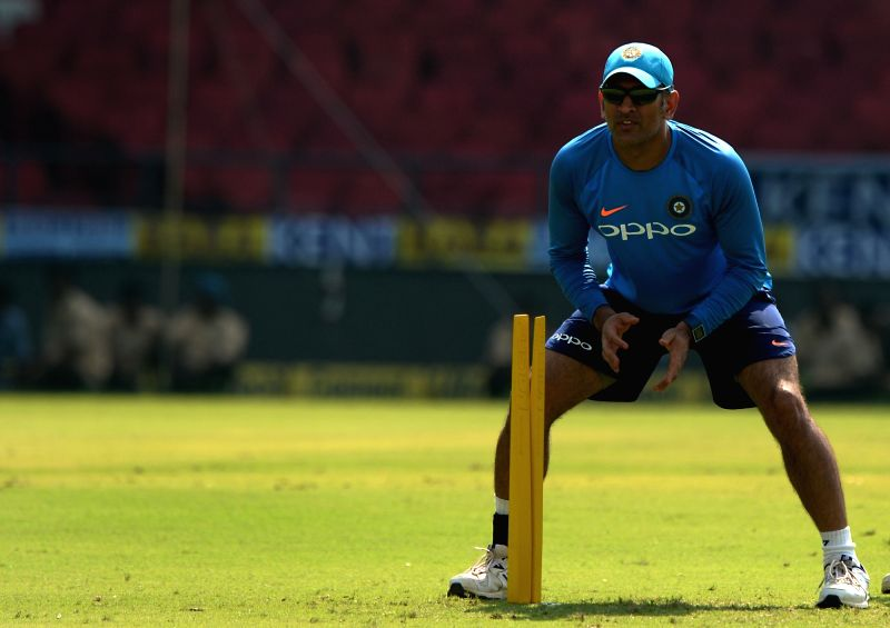 MS Dhoni of India during a practice session ahead of the fifth ODI match against Australia in Nagpur, on Sept 30, 2017. - MS Dhoni