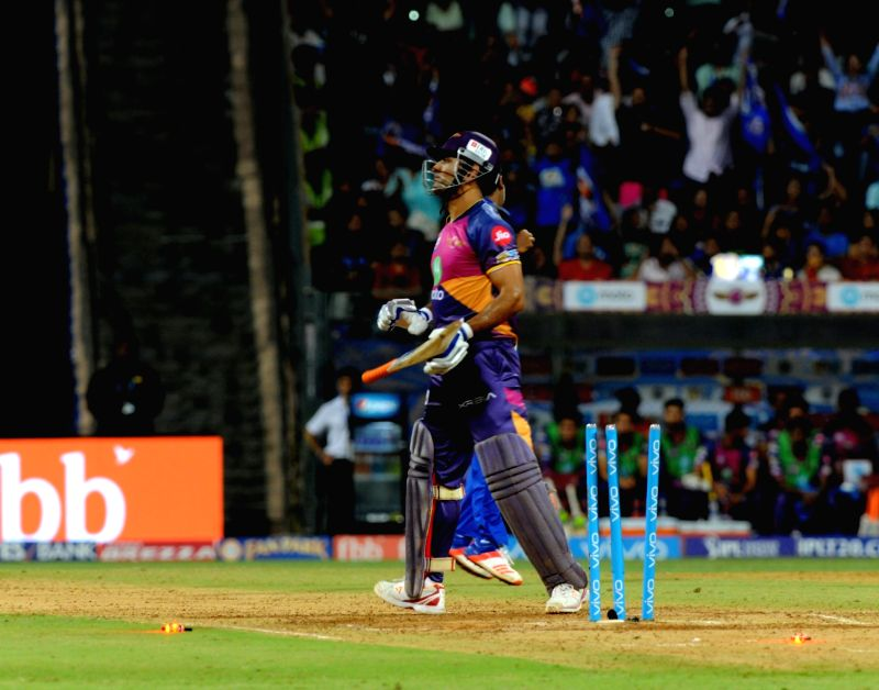 MS Dhoni of Rising Pune Supergiant gets bowled during an IPL 2017 match between Mumbai Indians and Rising Pune Supergiant at Wankhede Stadium in Mumbai on April 24, 2017. - MS Dhoni