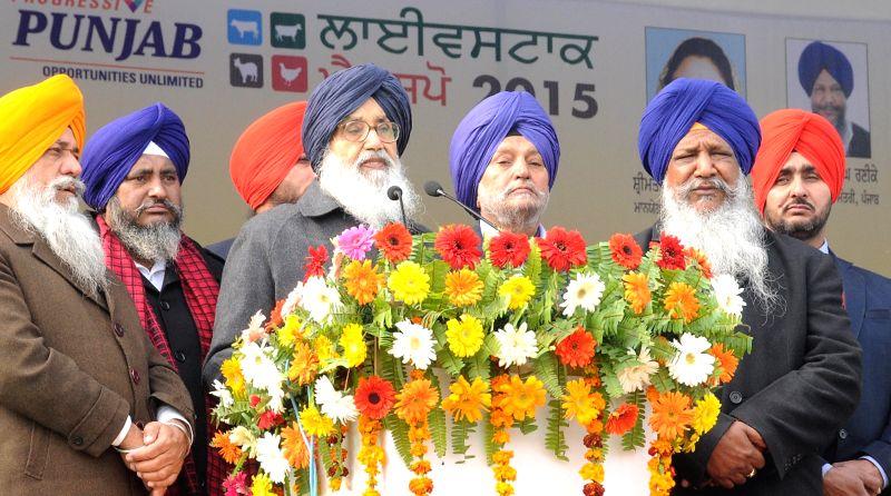 Punjab Chief Minister Parkash Singh Badal addresses during the National Livestock Championship and Livestock Expo-2015 in Muktsar, Punjab on Jan 12, 2015. - Parkash Singh Badal