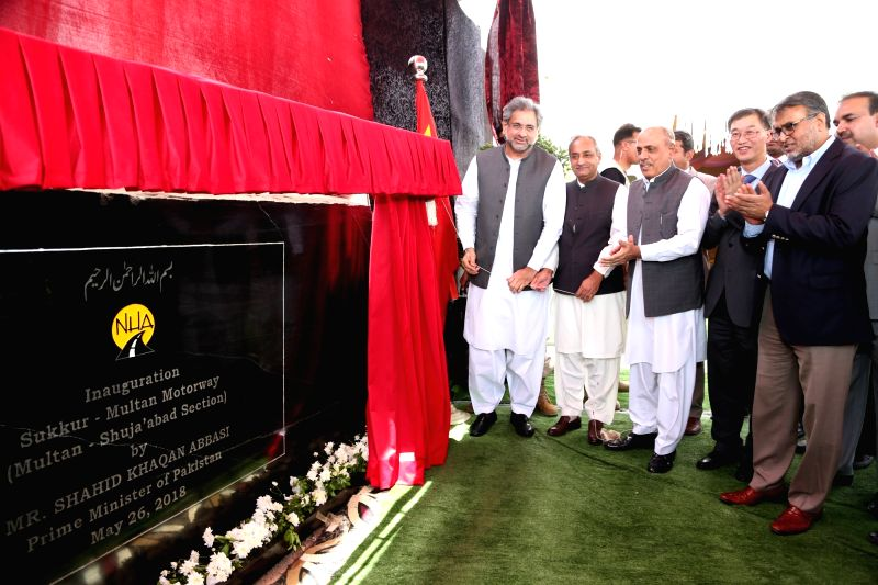 MULTAN (PAKISTAN), May 26, 2018 Pakistani Prime Minister Shahid Khaqan Abbasi (1st L) attends the inauguration ceremony of the first section of Multan-Sukkur Motorway in Multan, Pakistan, ... - Shahid Khaqan Abbasi