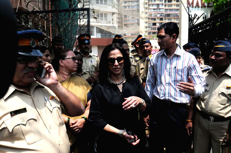 Author Shobhaa De outside her house in Mumbai on April 9, 2015. Shiv Sena activists staged a protest outside the house of author Shobhaa De over her controversial remarks.