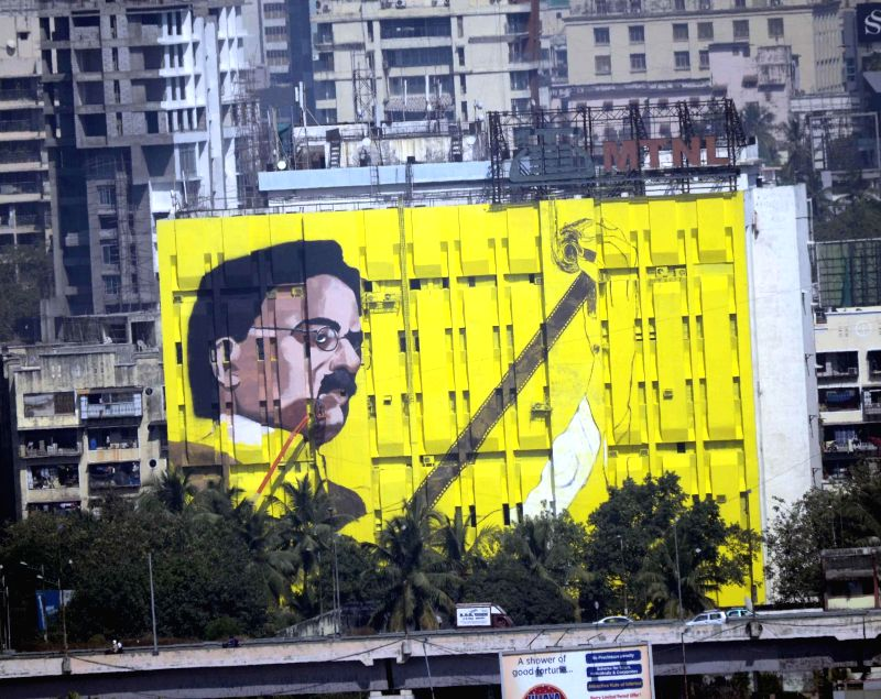 A 120 x 150 feet painting of the father of Indian cinema Dadasaheb Phalke that was unveiled by actor Amitabh Bachchan at Bandra in Mumbai on Dec 11, 2014.