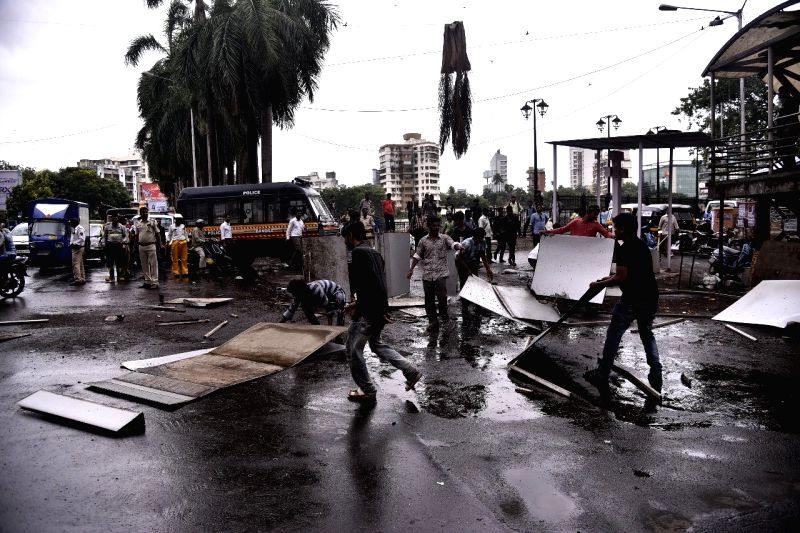 Mumbai: A cement hoarding sheet uprooted by gusty winds crashed on a pedestrian outside Churchgate station, injuring him seriously on June 12, 2019. The incident occurred around 12.45 p.m. when the heavy hoarding suddenly collapsed on the pedestrian,