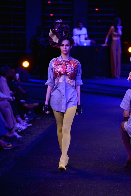 A Model showcase fashion designer Little Shilpa creations at the Blenders Pride Fashion Tour 2014 in Mumbai on 30th November, 2014